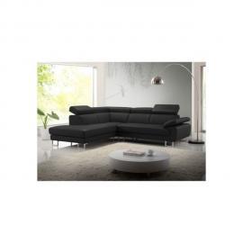 Vente-unique Canapé d'angle cuir Colisee - Noir - Angle gauche