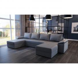 Meublesline Canapé d'angle panoramique convertible Dallas tissu gris design