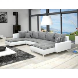 Meublesline Canapé d'angle en U Dante 6 à 7 places gris et blanc