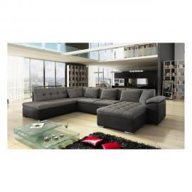 Meublesline Canapé d'angle panoramique Alia gris et noir