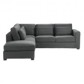 Canapé d'angle 5 places en coton gris ardoise Milano