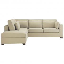 Canapé d'angle 5 places en coton mastic Milano