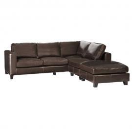 Canapé d'angle 5 places en croûte de cuir chocolat Kennedy
