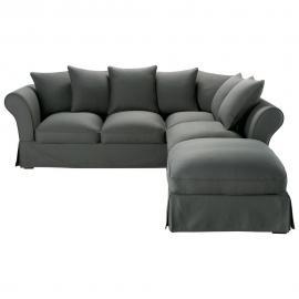 Canapé d'angle 6 places en coton gris ardoise Roma