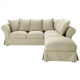 Canapé d'angle 6 places en coton mastic Roma