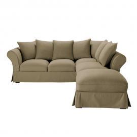 Canapé d'angle 6 places en coton taupe Roma