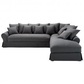 Canapé d'angle droit 6 places en coton gris ardoise Bastide