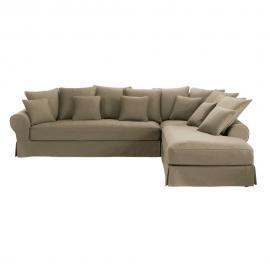 Canapé d'angle droit 6 places en coton taupe Bastide