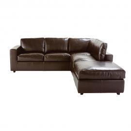 Canapé d'angle droit convertible 5 places en croûte de cuir marron Kennedy