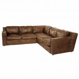Canapé d'angle vintage 4 places en cuir cognac Morrison