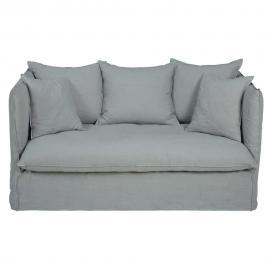 Canapé-lit 2 places en lin lavé gris clair Louvre