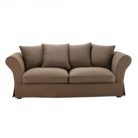 Canapé-lit 3/4 places en coton taupe Roma