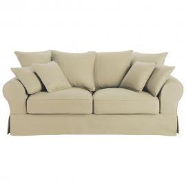Canapé-lit 3 places en coton beige Bastide