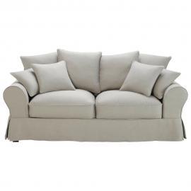 Canapé-lit 3 places en coton gris clair Bastide