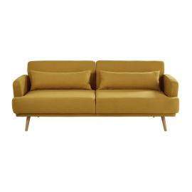 Canapé-lit 3 places jaune moutarde Elvis