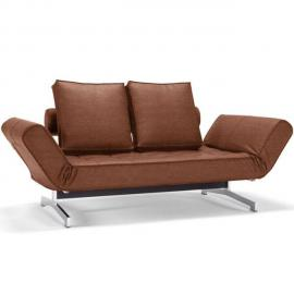 Inside 75 Canapé design Ghia Chrome Leather Look_Brown Faunal convertible lit 210 80cm