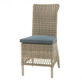 Chaise de jardin + coussin en résine tressée et tissu grise St Raphaël