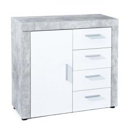 Paris Prix Commode 4 Tiroirs Concrete Gris & Blanc