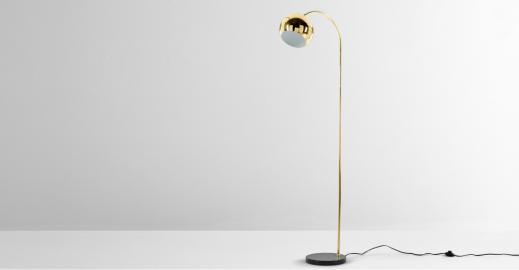 Arceli, lampadaire, laiton et marbre noir