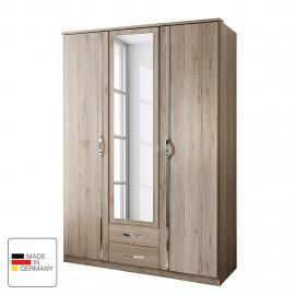 Armoire à portes battantes Nicu - Imitation chêne de San Remo - Largeur d'armoire : 180 cm - 4 porte