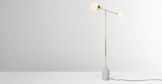 Faye, lampadaire, laiton et marbre