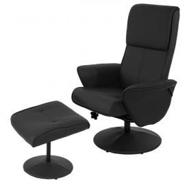 Mendler Fauteuil relax Helsinki fauteuil Tv avec repose-pieds/pouf ~ similicuir, noir