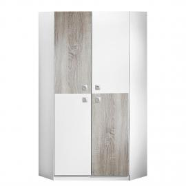 Armoire d'angle Sunny - Blanc alpin / Chêne brut de sciage, Wimex