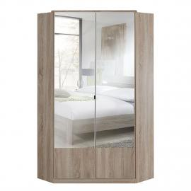 Armoire d'angle Imago - Imitation chêne brut de sciage - Avec miroir, Wimex