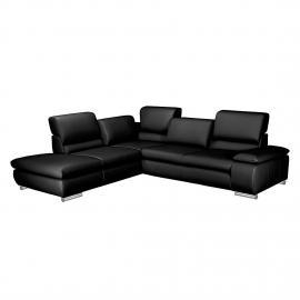 Canapé d'angle Masca - Imitation cuir noir - Méridienne à gauche (vue de face), Fredriks