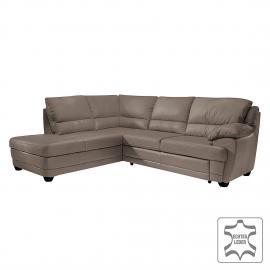 Canapé d'angle Kevin (convertible) - Canapé d'angle taupe - Méridienne àÂ gauche (vue de face), Co