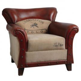 AUBRY GASPARD Fauteuil en coton et cuir Charleston polo