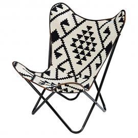 Fauteuil en kilim motifs noirs et blancs Palmyre