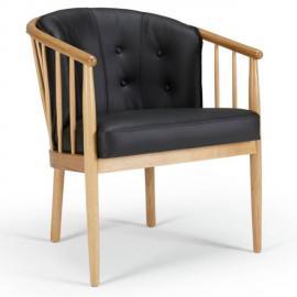 Inside 75 Fauteuil design scandinave Anna accoudoirs bois cuir noir