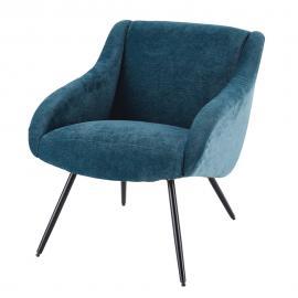 Fauteuil vintage en velours bleu et métal Joyce