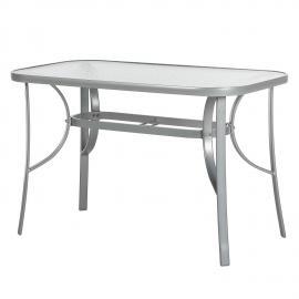 Table de jardin Milano - Aluminium / Verre Argenté Transparent, Merxx