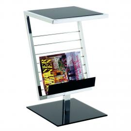 Table d'appoint Anka - Acier chromé / Verre noir verni, Home Design