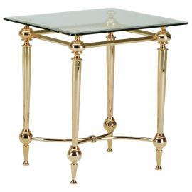Table d'appoint Bianka I - Acier contreplaqué or / Verre avec bord à facettes, Home Design