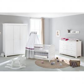 Ensemble de chambre de bébé Nina Kids (3 éléments) - Pin massif - Blanc, Pinolino