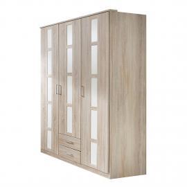 Armoire à vêtements Mena - Chêne brut de sciage / Blanc alpin - Largeur : 90 cm, Wimex