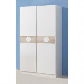 Armoire à vêtements Simba I - Blanc alpin / Chêne brut de sciage Largeur : 90 cm - 2 portes - Sans s