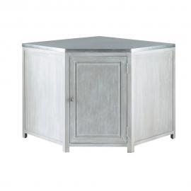Meuble bas d'angle de cuisine en bois d'acacia gris L 99 cm Zinc