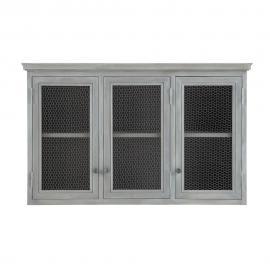 Meuble haut de cuisine en bois d'acacia gris L 120 cm Zinc