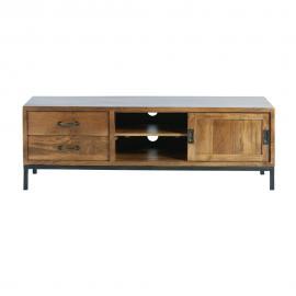 Meuble TV 1 porte 2 tiroirs en manguier massif et métal noir Hipster