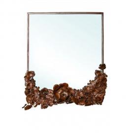 Decoshop Miroir mural fleuri 68x61 cm