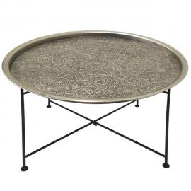 MENZZO Table basse ronde Mouva Nickel et Noir