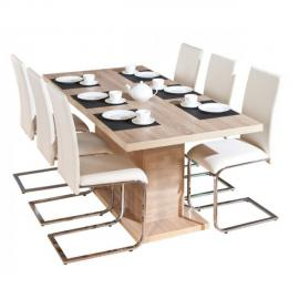 Altobuy Myca - Table pied central avec allonge