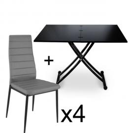 Table basse relevable Noir carbone et lot de 4 chaises Gris