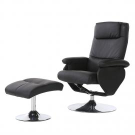 Fauteuil de relaxation Lauro (avec repose-pieds) - Imitation cuir - Noir, Nuovoform