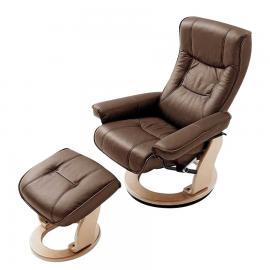 Fauteuil de relaxation Odenwald en cuir véritable (avec repose-pieds) - Marron, Bellinzona