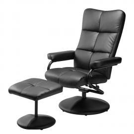 Fauteuil de relaxation Ramberg (avec repose-pieds) Imitation cuir - Noir, Nuovoform